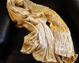 Fortuny Silk Velvet Wrap Shawl Scarf Pleated Vintage Vanilla Cream
