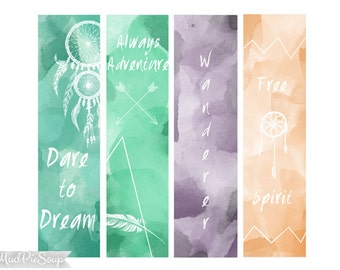 Printable Boho Bookmarks - Bohemian Feathers, Arrows, Dreamcatcher Sayings Wanderer Adventure/ Instant Download