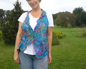 Felted Summer Vest Crazy wool