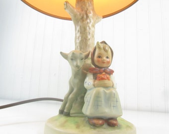 Vintage Hummel Lamp, Girl With Lamb Hummel Lamp, table lamp, vintage nursery decor, German figurine,rare collectible,ceramic lamp, lighting,