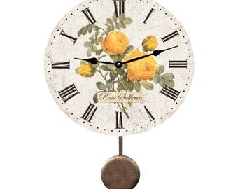 Yellow Rose Pendulum Clock