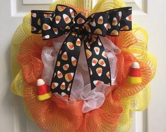 Halloween Candy Corn Deco Mesh Wreath