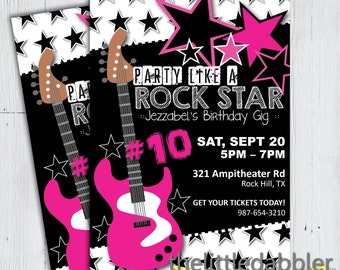 Party Like a Rock Star Birthday Invitation -- Printable PNG, JPG, PDF --  Hot Pink Star Guitar Rock and Roll Birthday Gig