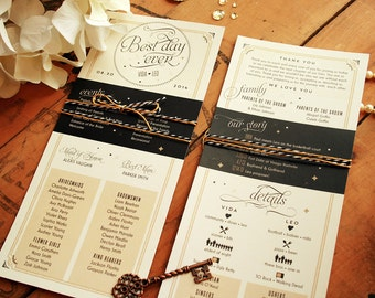 Wedding Programs - Infographic Black & Gold - Vintage Glam Ceremony Programs - Printable or Printed