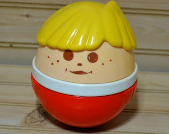 Vintage Little Tikes Large Jumbo Boy Roly Poly Chime Ball Weeble Wobble Tykes Kids Toddler Toy