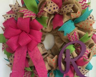 Burlap wreath, Summer wreath, Spring and Summer wreath, monogram wreath, Burlap initial wreath, Initial wreath