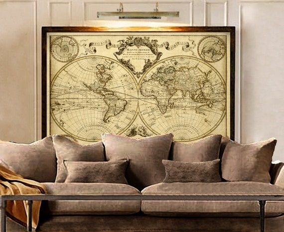 L'Isle's 1720 Old World Map Historic Map Antique Style World Map Guillaume de L'Isle mappe monde Wall Map Vintage Map Home Decor