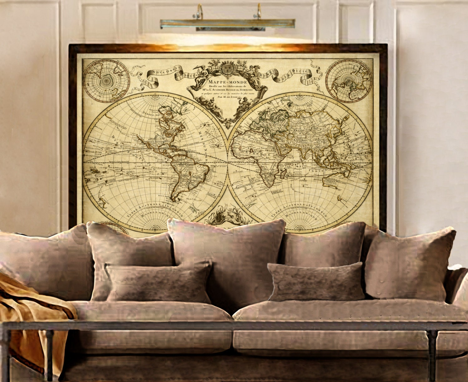 1720 old world map map art historic map antique style for Vintage home decor