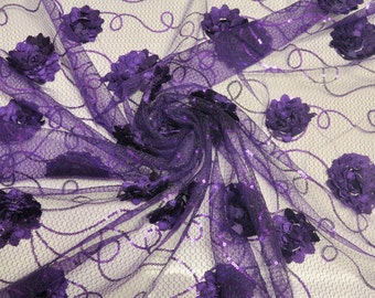 Purple Embroidered Net Fabric with Flowers and Sequins Style 2402
