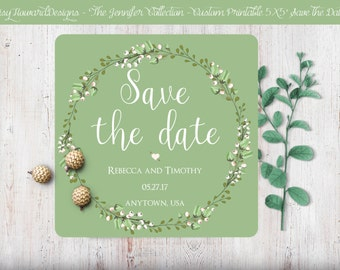 Custom Printable Square Save the Date Card - The Jennifer Collection