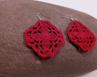 crochet earrings red square