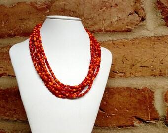 Multishade Orange multistrand seed bead Necklace
