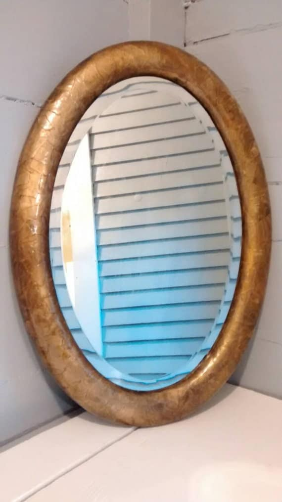 Mirror Oval Gold Decoupaged Circa 1928 Antique Home