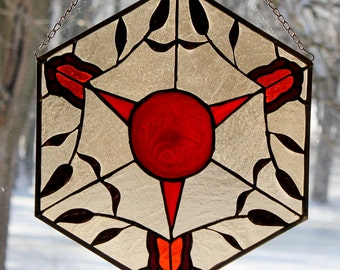 Kaleidoscope, stained glass panel, butterflies, stain glass, rondel, hand blown, leaves, vines, free shipping, no shipping