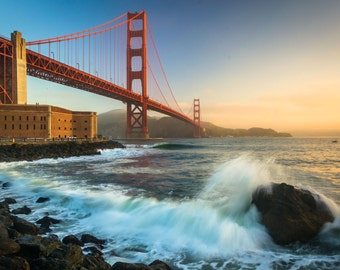 The Golden Gate Bridge, seen at sunrise from Fort Point, San Francisco, California. | Photo Print, Stretched Canvas, or Metal Print.