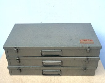 3 Dunco Slide Boxes Storage for vintage prop or jewelry display