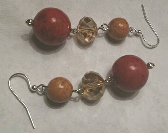 Red Sponge Coral and Tan Earrings No. 213