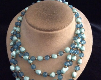 Vintage Chunky Multi Stranded Shades Of Blue Beaded Necklace