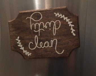 Magnetic wooden clean/dirty dishwasher magnet