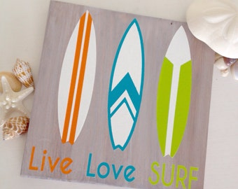 Surfboard Wood Sign- Vintage Surfboards- Live Love Surf- Surfboard Wall Hanging- Surfboard Room Decor- Surf Room Decor- Surf Decor