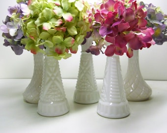Mixed Set of 5 Small Milk Glass Vases ~ Instant Collection ~ Wedding Vases ~ Cottage Chic Vases ~ Natural Bounty Vintage ~ 0201
