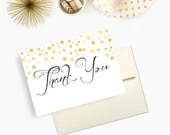 Wedding Thank You Cards, Gold Confetti, Newlywed Thank You Cards - Set of 10 - Envelopes Included