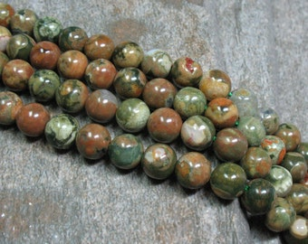 "8 mm Rainforest Rhyolite Beads, 15.5"" strand - Item B0568"
