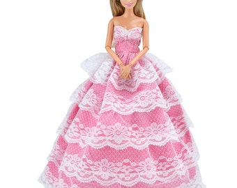 Handmade Rose and White Doll Clothes Evening Dress Gown With Hat For Barbie Dolls