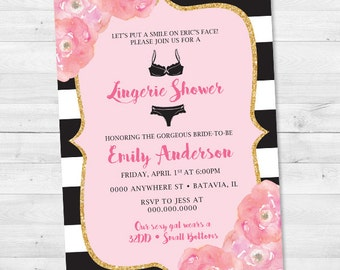 Black & White Stripe Pink Floral Lingerie Bridal Shower Invitation