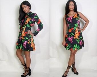Vintage 60s 70s Black Floral Print Cropped Bolero Jacket Mini Dress Two Piece Set Ensemble Outfit