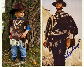 Child Poncho Crochet Pattern Western Cowboy Clint Eastwood Style