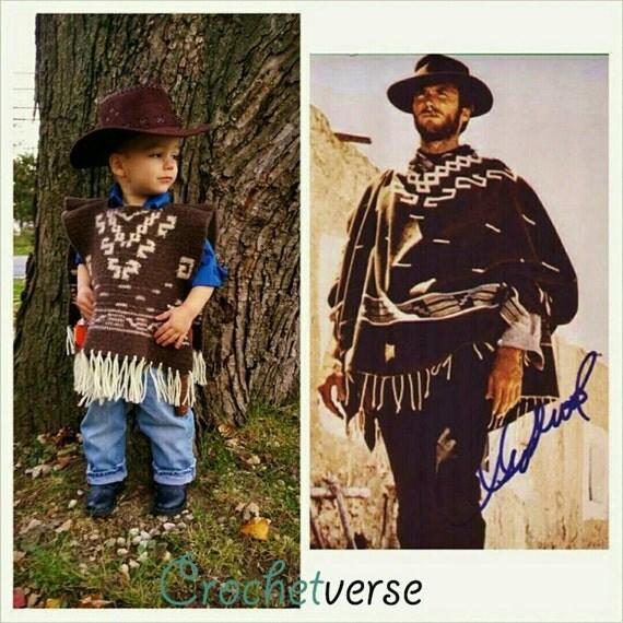 Child Poncho Crochet Pattern Western Cowboy Clint Eastwood