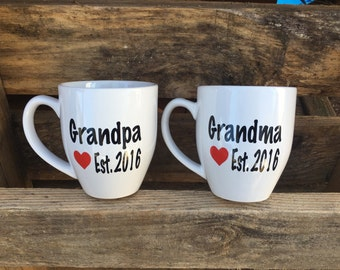 Grandma and Grandpa, New Grandma New Grandpa, Grandparent Pregnancy Announcement Coffee Mugs, Set of two
