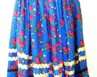 Traditional Hungarian Folk Art Ethnic Floral Kashmir Cashmere Skirt Blue with Pink Flowers