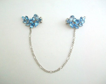 Sweater Clips, Blue Sweater Clips, Rhinestone Sweater Clip, Leaf Sweater Clips, Sweater Guard, Collar Clip, Cardigan Keeper, Something Blue