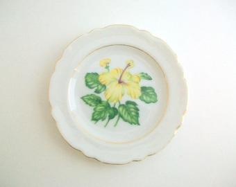 Vintage Ring Dish, Yellow Ring Dish, Floral Ring Dish, Flower Ring Dish, Ring Dish Jewelry Dish Trinket Dish Yellow Trinket Dish Ring Holder