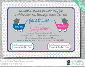 Double Baby Shower Invitation - Stroller - Custom Colors - Digital File Only
