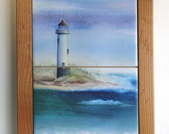 Lighthouse Framed Mural Wall Hanging or Trivet Original Watercolor Ocean art
