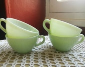 RESERVED FOR M 4 Milk glass green and 4 blue jadeite coffee tea cups set 1950s French Vintage