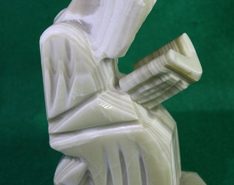 Vintage Mexican Carved Alabaster Monk Sculpture