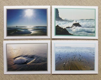 Beach Note Cards, Gift for Beach Lover, Ocean Photography, Set of 4 All Occasion Blank Cards, Sand Dollar, Seagull, Love Thank You Birthday