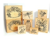 Rubber Stamp Lot - 8 PSX Rubber Stamps - Poinsettia Frame, Floral Frame, Garden Tools in Watering Can, Bird Feeder, Dragonfly, 3 Sentiments
