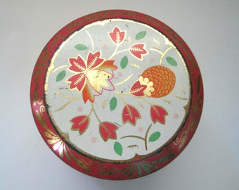 Kemps (London) Limited Vintage Tin, Post Art Deco Orange and Gold Floral Geometric Design, Candy Tin Box, Tea Tin