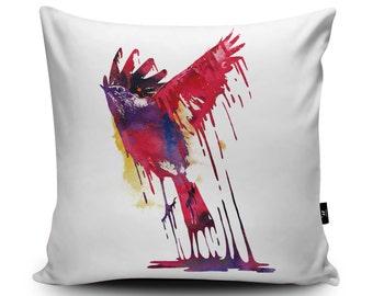 Bird Cushion, Bird Pillow, Colorful Cushion, Phoenix cushion, Parrot pillow, Bird of Paradise cushion, Bird Decor, Wildlife Cushion