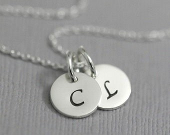 Double Initial Necklace, Sterling Silver Initial Necklace, Gift for Her, Gift for Mom, Christmas Gift Necklace