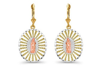 14k solid gold tri color our lady of guadalupe lever earrings. fleur de lis leverbacks.