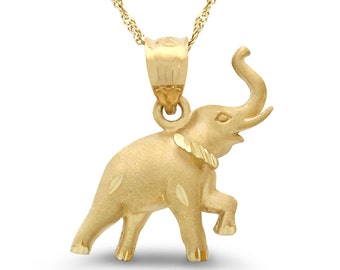 "14k solid gold elephant pendant with 18"" 14k solid gold chain. animal jewerly"