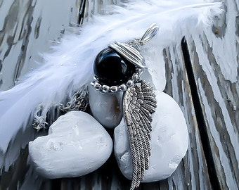 Final Fantasy Jewelry - Sephiroth Necklace - Final Fantasy 7 - Black Materia - Sephiroth Materia - One Winged Angel - Mako Necklace
