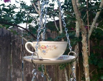 tea cup bird feeder, handcrafted, upcycled