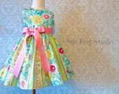 Girls Easter Dress, Toddlers Easter Dress, Aqua and Lime Floral, Special Occasion, Sunday, Church, Wedding Sizes 2T - 8 by 8th Day Studio